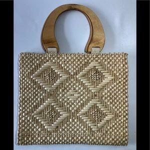 Vintage woven grass handbag w/ wooden handles